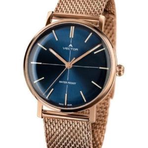 שעון יד עם רצועות סריגת מתכת סטיינלס זהוב אדום ורקע כחול עמוק. מותג VECTOR בדגם V8-108483 blue Престижные наручные часы от Golf Watches. Бренд vector для роскошных наручных часов в Израиле