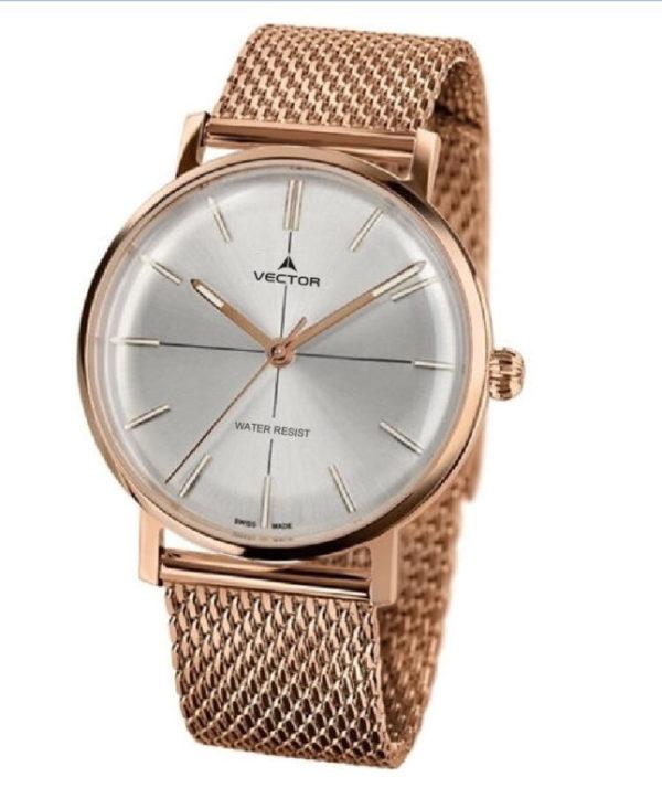 שעון יד עם רצועות סריגת מתכת סטיינלס זהוב אדום ורקע כסוף סילבר. מותג VECTOR בדגם V8-108483 silver Престижные наручные часы от Golf Watches. Бренд vector для роскошных наручных часов в Израиле