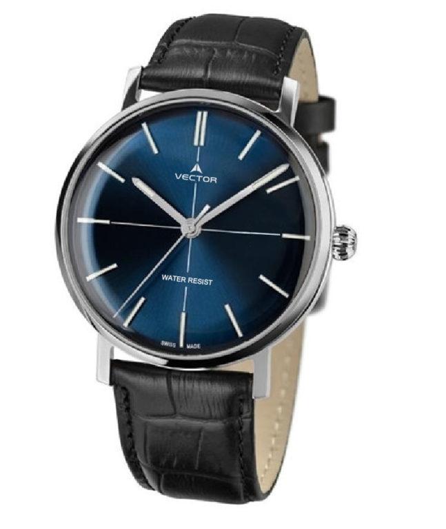 שעון יד מבית וקטור. רצועות עור שחורות בשילוב פנים שעון כחול עמוק בעיצוב קלאסי מודרני. דגם V8-108513 blue Престижные наручные часы от Golf Watches. Бренд vector для роскошных наручных часов в Израиле
