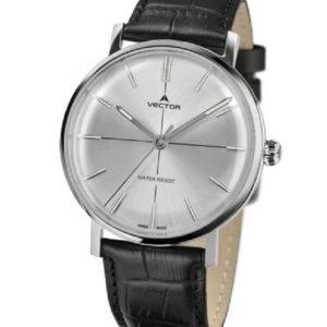 שעון יד מבית וקטור. רצועות עור שחורות בעיצוב קלאסי מודרני. דגם V8-108513 silver Престижные наручные часы от Golf Watches. Бренд vector для роскошных наручных часов в Израиле