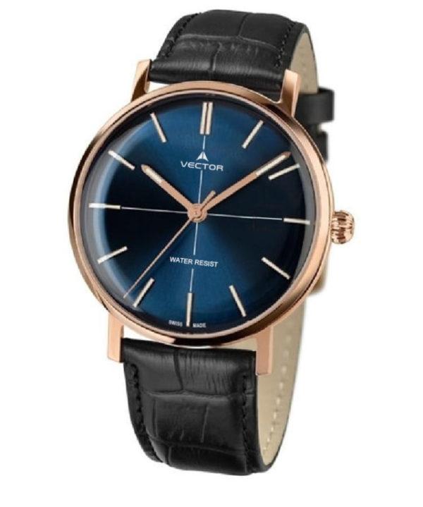 שעון יד מבית VECTOR בעל רצועות עור שחורות, ומחוגים מוזהבים על גבי כחול עמוק. דגם V8-108583 blue Престижные наручные часы от Golf Watches. Бренд vector для роскошных наручных часов в Израиле