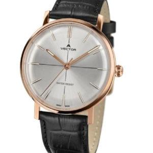 שעון יד מבית VECTOR בעל רצועות עור שחורות ונגיעות זהב וכסף. דגם V8-108583 silver Престижные наручные часы от Golf Watches. Бренд vector для роскошных наручных часов в Израиле