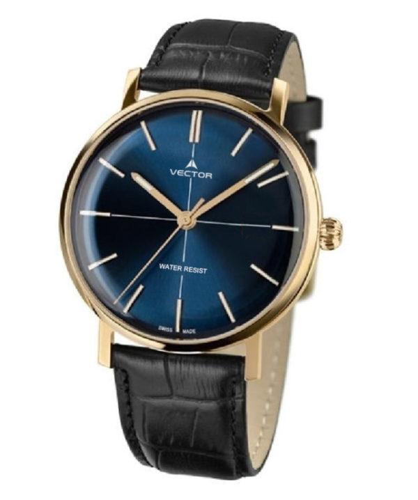 שעון יד מבית VECTOR בעל רצועות עור שחורות, ומחוגים מוזהבים על גבי רקע כחול מטאלי. דגם V8-1085935 blue Престижные наручные часы от Golf Watches. Бренд vector для роскошных наручных часов в Израиле