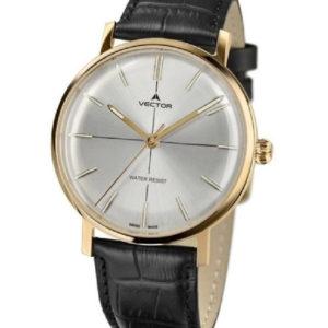 שעון יד מבית VECTOR בעל רצועות עור שחורות, ומחוגים מוזהבים על גבי רקע כסוף מטאלי. דגם V8-1085935 silver Престижные наручные часы от Golf Watches. Бренд vector для роскошных наручных часов в Израиле Престижные наручные часы от Golf Watches. Бренд vector для роскошных наручных часов в Израиле