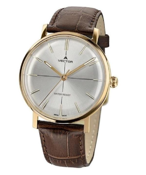 שעון יד מבית VECTOR בעל רצועות עור חומות, ומחוגים מוזהבים על גבי רקע כסוף מטאלי. דגם V8-1085938 silver Престижные наручные часы от Golf Watches. Бренд vector для роскошных наручных часов в Израиле