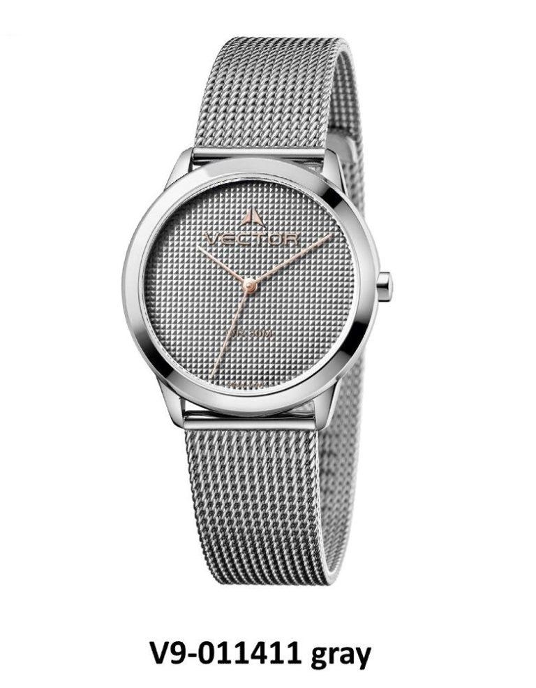 שעון יד עיצוב מודרני נקי בעל רצועות סטיינלס כסוף כהה שזורות מקולקציית קלין דיזיין 2020 שעוני VECTOR. דגם V9-011411 gray Престижные наручные часы от Golf Watches. Бренд vector для роскошных наручных часов в Израиле