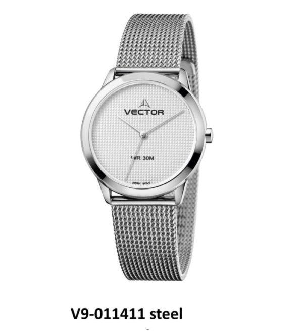 שעון יד עיצוב מודרני נקי בעל רצועות סטיינלס כסוף שזורות מקולקציית קלין 2020 שעוני VECTOR. דגם V9-011411 steel Престижные наручные часы от Golf Watches. Бренд vector для роскошных наручных часов в Израиле