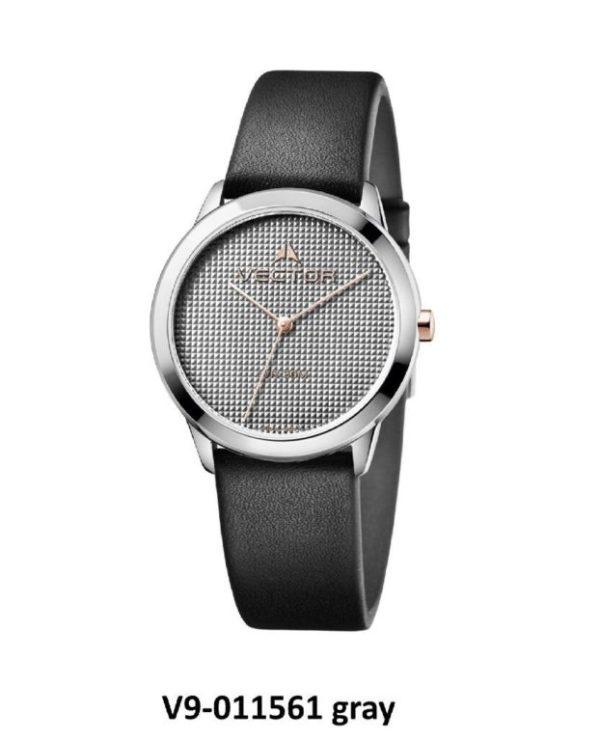 שעון יד עיצוב מודרני נקי בעל רצועות עור שחורות מקולקציית קלין 2020 שעוני VECTOR. דגם V9-011561 gray Престижные наручные часы от Golf Watches. Бренд vector для роскошных наручных часов в Израиле
