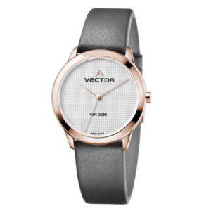 שעון יד עיצוב מודרני נקי נשי בעל רצועות עור שחורות מקולקציית קלין 2020 שעוני VECTOR. דגם V9-011581 steel Престижные наручные часы от Golf Watches. Бренд vector для роскошных наручных часов в Израиле