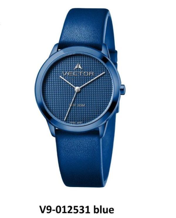 שעון יד מבית VECTOR, קולקציית 'כחולי השמיים' כחול-כחול ייחודי. דגם V9-012531 blue Высококлассные элегантные классические часы
