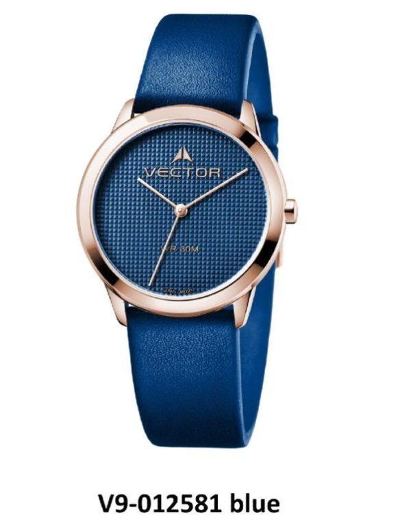 שעון יד מבית VECTOR, קולקציית 'כחולי השמיים' שילוב קלאסי של כחול וכסוף מודרני. דגם V9-012581 blue Высококлассные элегантные классические часы