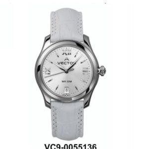 שעון יד נשי מבית VECTOR. רצועות עור לבנות לאשת עסקים באיכות בלתי מתפשרת. השעון עצמו לבן עם עיטורי כסף. דגם VC9-0055136 silver Классические роскошные наручные часы от VECTOR для онлайн-заказа