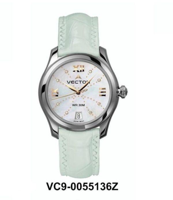 שעון יד נשי מבית VECTOR. רצועות עור לבנות ויוקרתיות באיכות בלתי מתפשרת. השעון עצמו לבן עם עיטורי כסף. דגם VC9-0055136Z Классические роскошные наручные часы от VECTOR для онлайн-заказа
