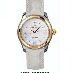 שעון יד נשי מבית VECTOR. רצועות עור לבנות ויוקרתיות באיכות בלתי מתפשרת. השעון עצמו לבן עם עיטורי זהב. דגם VC9-0055636 Классические роскошные наручные часы от VECTOR для онлайн-заказа
