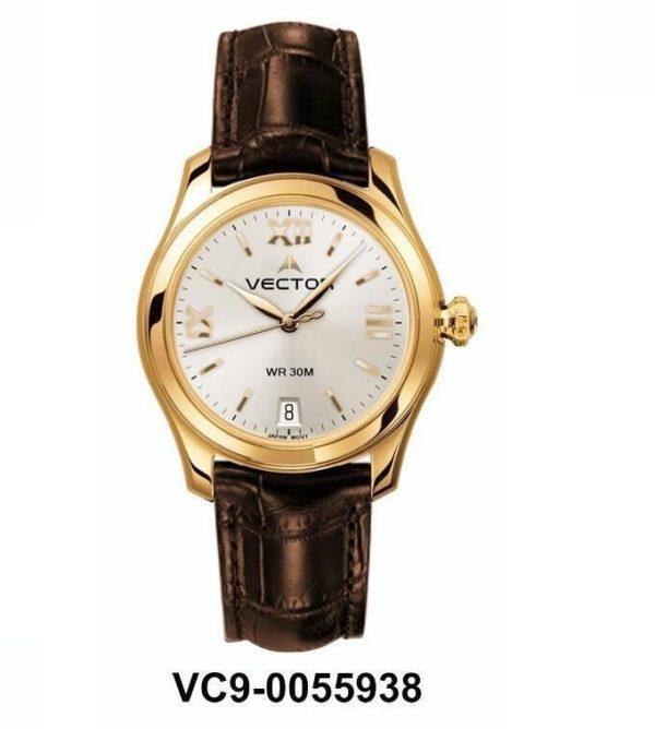 שעון יד נשי מבית VECTOR. רצועות עור חומות ויוקרתיות באיכות בלתי מתפשרת. השעון עצמו זהוב-כסוף לאשה הקלאסית. דגם VC9-0055938 silver Классические роскошные наручные часы от VECTOR для онлайн-заказа