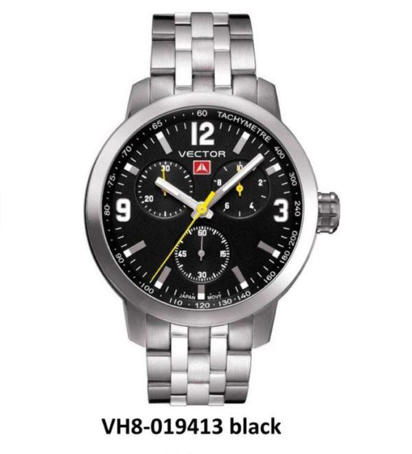 שעון יד ממותג VECTOR בסדרת השעונים 'אינדסטריאל מן'. עוצמתי לולאות ברזל ורקע שעון שחור מטאלי. דגם VH8-019413 black Классические роскошные наручные часы от VECTOR для онлайн-заказа