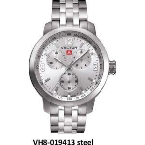 שעון יד ממותג VECTOR בסדרת השעונים בעיצוב התעשייתי. עוצמתי לולאות ברזל מטאלי. דגם VH8-019413 steel Классические роскошные наручные часы от VECTOR для онлайн-заказа
