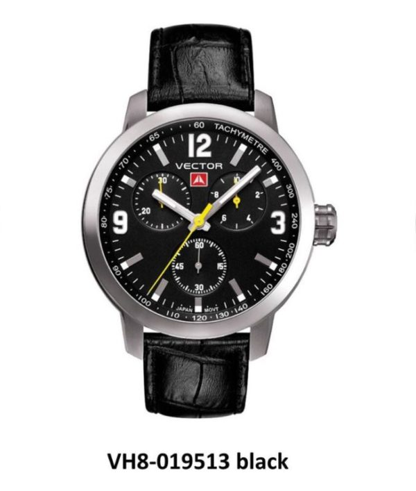 שעון יד ממותג VECTOR בסדרת השעונים 'אינדסטריאל מן'. רצועות עור ורקע שעון שחור לגבר הקלאסי. דגם VH8-019513 black Классические роскошные наручные часы от VECTOR для онлайн-заказа