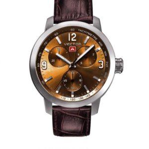 שעון יד ממותג VECTOR בסדרת השעונים 'אינדסטריאל מן'. עוצמתי, רצועות עור, חום מטאלי. דגם VH8-019513 brown Классические роскошные наручные часы от VECTOR для онлайн-заказа