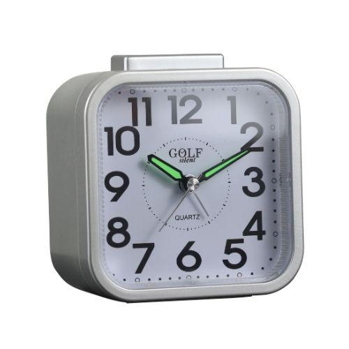 Будильник, который светится ночью обычным желтым светом, звонит всего одну минуту - подходит для соблюдающих субботу! Белый цвет и удобный в использовании у кровати. Коллекция Гольф 2000, тихая модель без клещей BM09802-SV שעון מעורר זוהר בלילה באור צהוב רגיל, מצלצל דקה אחת בלבד - מתאים לשומרי שבת! צבע לבן ונוח לשימוש על יד המיטה. קולקציית גולף 2000 דגם שקט בלי תיקתוקים BM09802-SV