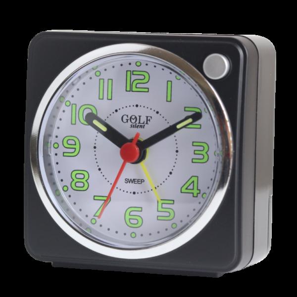 שעון מעורר עם מחוגים זוהרים בחושך, מרובע בעיצוב קלאסי-מודרני, מסידרת השעונים גולף שקט 2000 BB06602-BK-