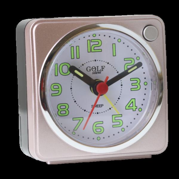 שעון מעורר ורדרד עם מחוגים זוהרים בחושך, מרובע בעיצוב קלאסי-מודרני, מסידרת השעונים גולף שקט 2000 BB06602-PK