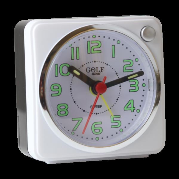 שעון מעורר עם מחוגים זוהרים בחושך, מרובע בעיצוב קלאסי-מודרני, מסידרת השעונים גולף שקט 2000 BB06602-WH