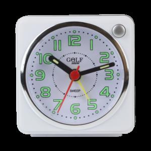שעון מעורר KCI עם מחוגים זוהרים בחושך, מרובע בעיצוב קלאסי-מודרני, מסידרת השעונים גולף שקט 2000 BB06602-WH