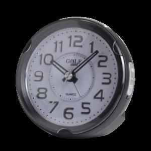 שעון מעורר מואר עם צפצוף נעים, בעיצוב עגול מודרני בצבע שחור. קולקציית גולף שקט 2000 דגם BB08604-BK-