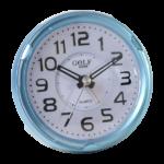 שעון מעורר מואר עם צפצוף נעים, בעיצוב עגול מודרני בצבע תכלת מטאלי. קולקציית גולף שקט 2000 דגם BB08604-BU