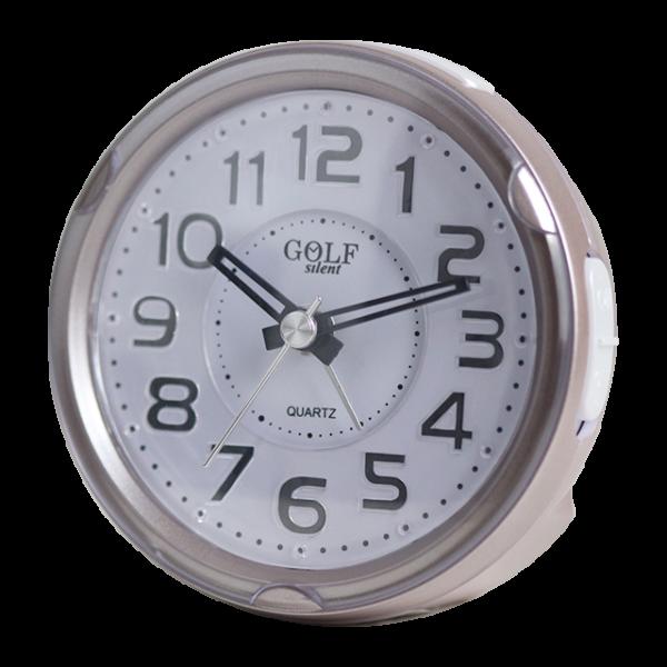 שעון מעורר מואר עם צפצוף נעים, בעיצוב עגול מודרני בצבע זהוב-כסוף. קולקציית גולף שקט 2000 דגם BB08604-GO