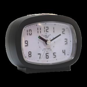 שעון מעורר אליפסי שחור, מסדרת גולף שקט 2000 עם תצוגה מוארת וברורה, דגם BB09007-BK-