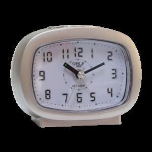 שעון מעורר אליפסי חום בהיר, מסדרת גולף שקט 2000 עם תצוגה מוארת וברורה, דגם BB09007-BK-