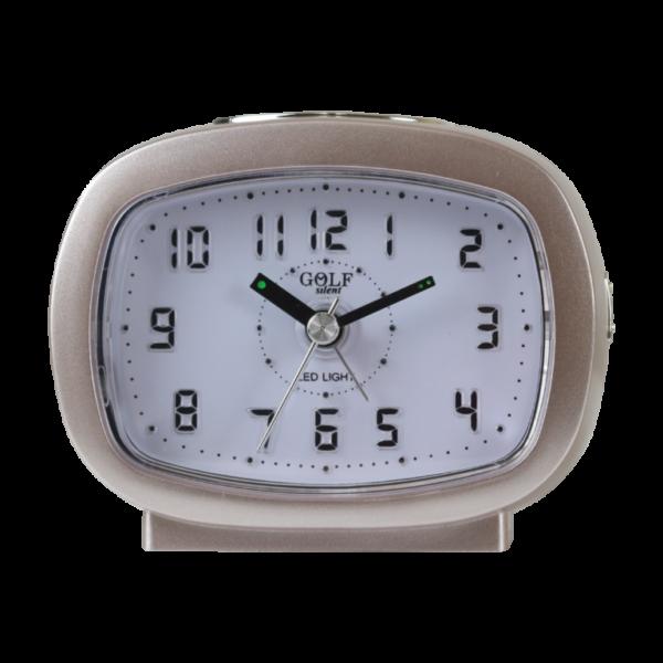 שעון מעורר אליפסי חום בהיר, מסדרת גולף שקט 2000 עם תצוגה מוארת וברורה, דגם BB09007-BR-