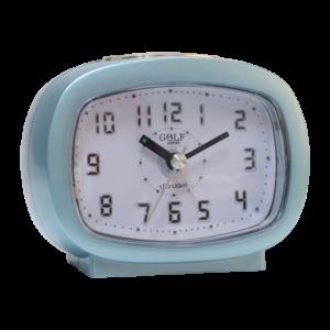 שעון מעורר אליפסי תכלת בהיר, מסדרת גולף שקט 2000 עם תצוגה מוארת וברורה, דגם BB09007-CY-