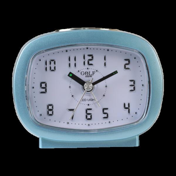 שעון מעורר אליפסי תכלת, מסדרת גולף שקט 2000 עם תצוגה מוארת וברורה, דגם BB09007-BR-