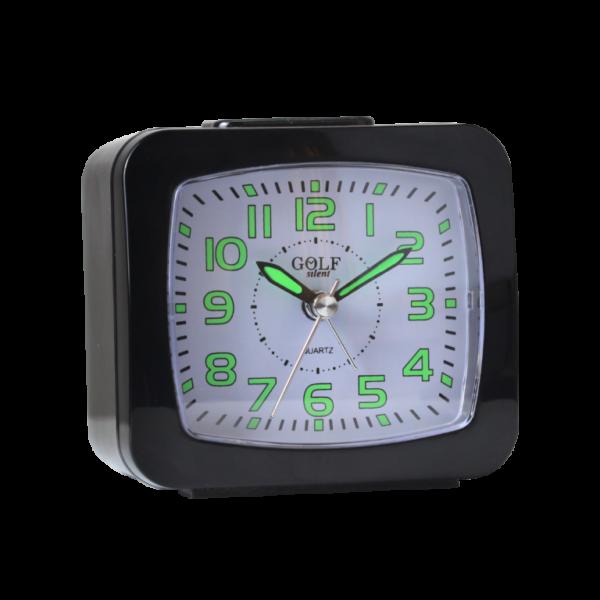 BM09402-BK שעון מעורר שחור, זוהר בחושך, מצלצל דקה אחת ומפסיק - מתאים לשבת! מסדרת גולף שקט 2000