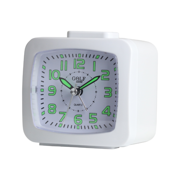 BM09402-BK שעון מעורר לבן, זוהר בחושך, מצלצל דקה אחת ומפסיק - מתאים לשבת! מסדרת גולף שקט 2000