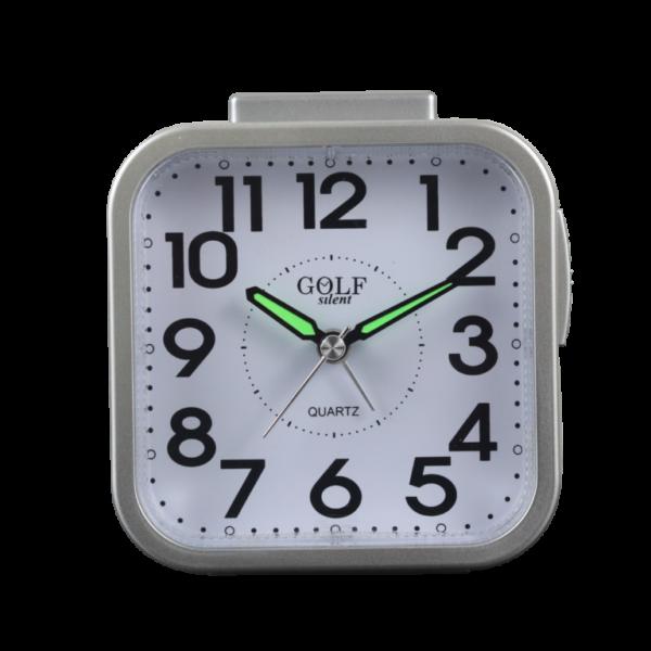 שעון מעורר מרובע זוהר בלילה באור צהוב רגיל,  צבע כסוף ונוח לשימוש על יד המיטה. קולקציית גולף 2000 דגם שקט בלי תיקתוקים BM09802-SV