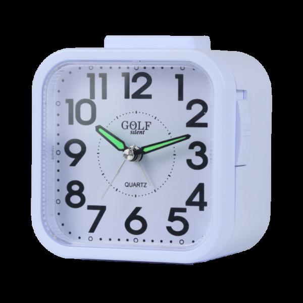 שעון מעורר זוהר בלילה באור צהוב רגיל, מצלצל דקה אחת בלבד - מתאים לשומרי שבת! צבע כסוף ונוח לשימוש על יד המיטה. קולקציית גולף 2000 דגם שקט בלי תיקתוקים BM09802-WH