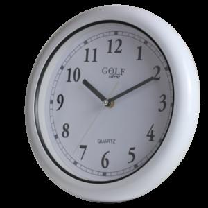 שעון *נגד מים*, לחדר אמבטיה, ג'קוזי, מקוה ובריכות. מעוצב עגול נקי, בצבע לבן קלאסי מדגם גולף שקט WC28008