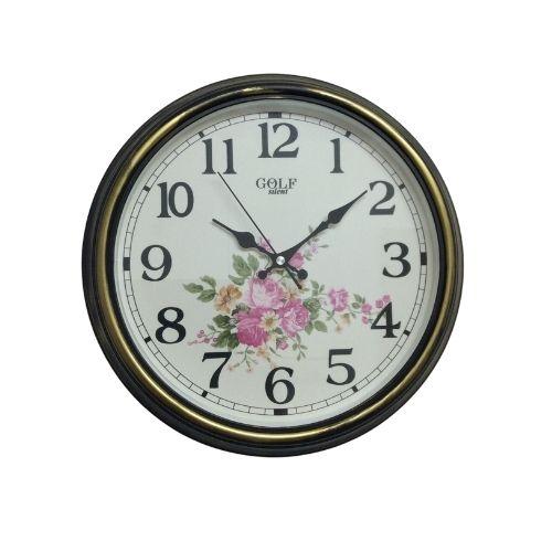 Настенные часы, украшенные цветами и оформленные в тени. 2606 שעון קיר מקושט בפרחים ומעוטר בגוון זהב