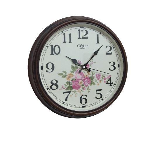 2606 שעון קיר מקושט בפרחים עם מסגרת חומה קלאסית