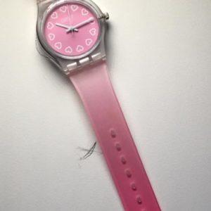 שעון יד ורוד שקוף 975 לבנות