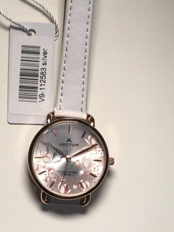 שעון יד אצילי לבן קולקציית 2021 מותג וקטור עם עיטורי פרחים לבן-כסוף דגם V9-112583SILVER