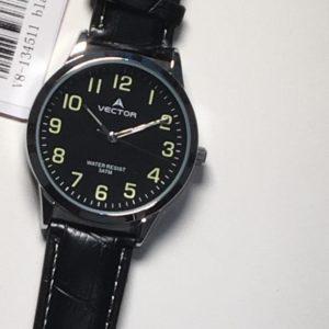 שעון יד גברי-קלאסי רצועות עור שחורות מבית וקטור קולקציית 2021 דגם V8-134511BLACK