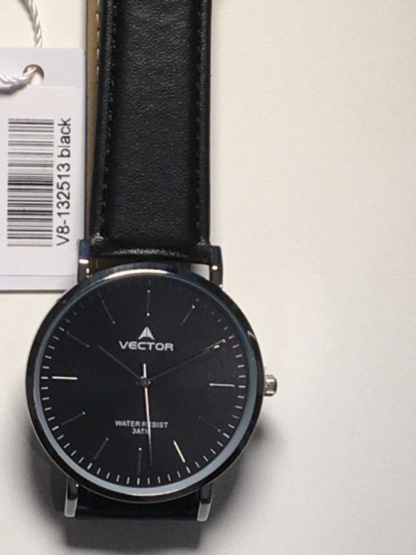 שעון יד גברי רחב עם רצועות שחורות ורקע שחור מבית וקטור 2021 דגם V8-132513BLACK