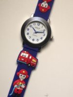 שעון יד לבנים מכבה אש ולוחם אש גולף כחול