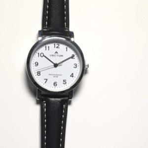 שעון יד עם תצוגה בהירה מבית וקטור- רצועות עור שחורות ורקע לבן דגם VECTOR V9-11511WHITE