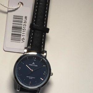 שעון יד קלאסי-אלגנט מבית וקטור- רצועות שחורות ורקע כחול כהה קולקציית 2021 דגם V9-111513BLUE